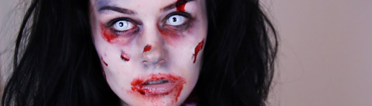 FX makeup and coloured eye contacts