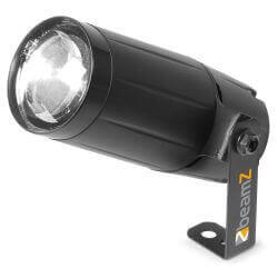Beamz 6 watt White LED Pin Spot Light, white bright LED with 6W light output, with a 14° beam angle. Compact high-tech case design and high light output.