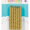 Candles Gold Large Spiral pack of 12.