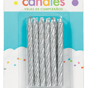 Candles Silver Large Spiral
