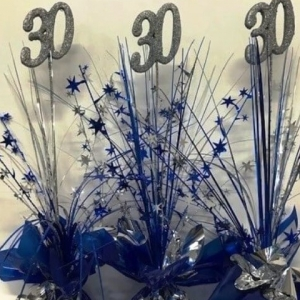 BlueSilver Centrepiece with a Foam glitter covered number on top