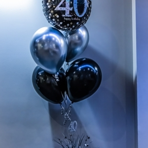 Forget Me Not Balloon Bouquet featuring a Foil balloon, four latex balloons on a custommade centrepiece
