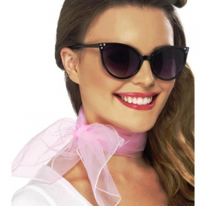 50s Chiffon Style Neck Scarf light pink ladies rock and roll grease