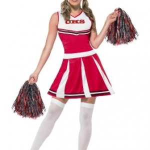 Smiffys Cheerleader red and white dress CHS and pom poms school careers halloween
