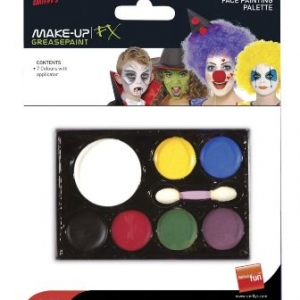Let your imagination run wild and add the finishing touches to your fancy dress costume with this superb face painting palette which comes complete with 7 fantastic greasepaint colours and an applicator. Non-toxic, washes off with warm soapy water.